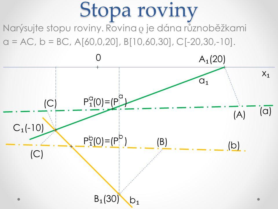 Stopa roviny Narýsujte stopu roviny. Rovina ρ je dána různoběžkami a = AC, b = BC, A[60,0,20], B[10,60,30], C[-20,30,-10].